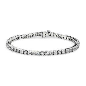 Diamond Tennis Bracelet Round White Gold 14K 5.5 C